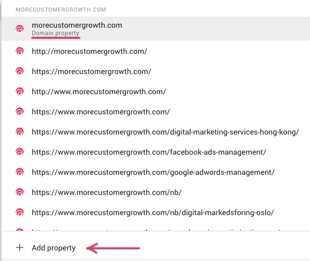 add property google search console